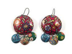 Recycled Tin Earrings, Gypsy Earrings, Chandelier Style by TinMoonJewelryworks on Etsy.  #bohoearrings #tinearrings #redearrings