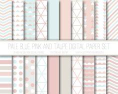 Modern Digital Paper, Pale Blue, Pink, Taupe, Geometric Patterns, Digital Background, Scrapbook Paper, Web Design, Card Design