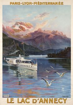 Frédéric HUGO D'ALESI – Vintage poster – Turn of the century poster for the Lake of Annecy in the French Alps, edited for the PLM company.