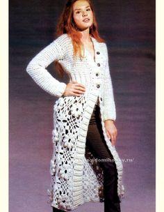 Long+Crochet+Coat+Pattern | Free Crochet Chart for Fall Coat - Puff Stitch Flower and Something ...