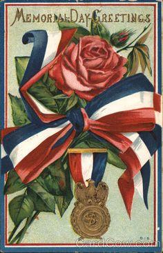 Divided Back Postcard Memorial Day Greetings Vintage Greeting Cards, Vintage Postcards, Vintage Images, Vintage Clip, Holiday Postcards, Vintage Roses, Memorial Day Flag, Happy Memorial Day, Patriotic Posters