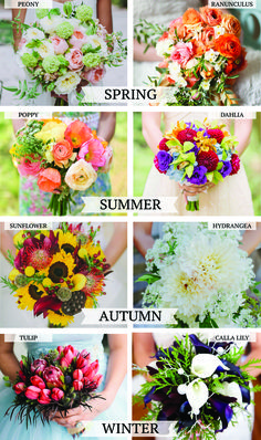 summer flowers, autumn, spring weddings, weddings flowers, flowers by season, flower ideas, wedding flowers in season, bouquet flowers, winter weddings