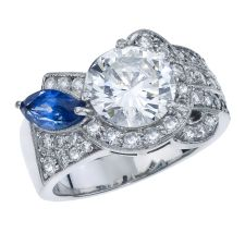 Art Deco Custom Made Diamond Ring With Marquise Blue Sapphire
