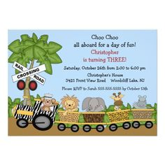 Safari Jungle Train Birthday Invitation