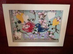 Love Birds Framed Quill Art by MaidenLongIsland on Etsy, $20.00