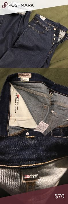 JCrew Wallace & Barnes Slim fit selvedge jeans Resin rinse selvedge denim.  Never been worn or washed.  No tags. 30x32 Button fly. Wallace & Barnes slim is similar to a narrow straight leg or the current 770 fit sold in JCrew store.  100% cotton.  Japanese denim constructed in the USA. Excellent condition. J. Crew Jeans Slim Straight
