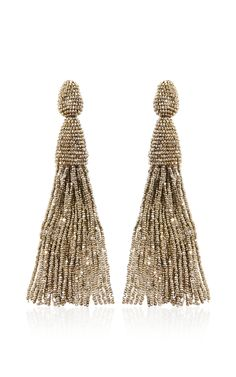 Long Tassel Earrings by Oscar de la Renta - Moda Operandi