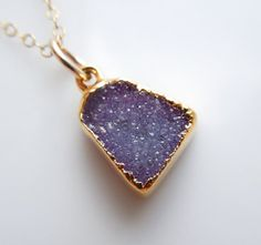 Drusy Necklace in Violet  Sparkle Necklace by 443Jewelry on Etsy, $70.00