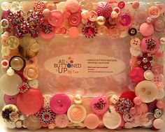 Pink & White Butterfly Button Picture Frame by allbuttonedupbytina