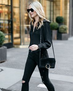 Fall Outfit, Winter Outfit, Black Ruffle Long Sleeve Blouse, Black Ripped Skinny Jeans, Chloe Faye Handbag