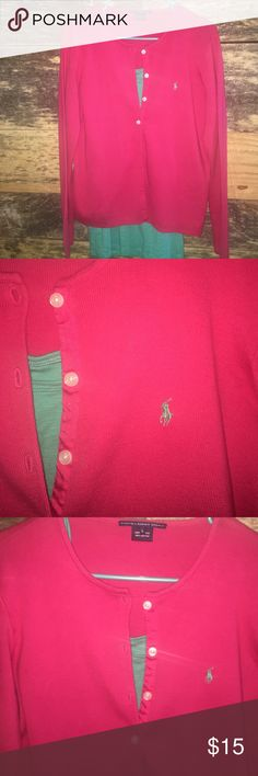 Ralph Lauren Sport Cardigan A fresh Pink / Kelly green Polo Pony insignia cardigan, by Ralph Lauren Sport ❗Traditional length, light weight sweater, paired with a long tank for style display.  Is a size L and in VERY GOOD condition.  *From a smoke free home. * Display only Kelly Green tank pictured, not for sale,  but was purchased at Target 😁 Ralph Lauren Sweaters Cardigans