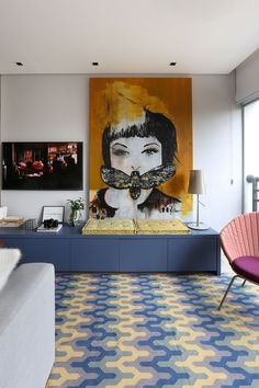 Big Picture Frames: Discover 60 creative ideas with photos - Decoration, Architecture, Construction, Furniture and decoration, Home Deco Big Picture Frames, Cosy Home, Sala Grande, Carpet Colors, Best Interior Design, Decoration, Decorating Your Home, Sweet Home, House Design