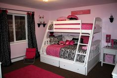 Marvelous Elegant Pink Tween Bedroom Design Ideas with Contemporary White Wooden Bunk Bed that have Beautiful Zebra Pattern Bedding and Elegant Black Windows Curtains Accessories also Simple White Wood Bedside Table Furniture for Teenage Girls