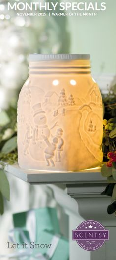 ♥ Scentsy November 2015 Let It Snow Warmer Winter Cypress Scent ♥ Snow sculpture crafted in precious detail, Let it Snow scenes warmer.