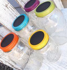 Large Chalkboard Jars - Colorful SHABBY CHIC Chalkboard Lid Canister Storage Jars, Set of 5