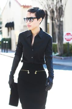 Vintage Chanel pencil skirt, Theory blouse, YSL pumps, vintage clutch, Barneys New York leather gloves, and Super sunnies