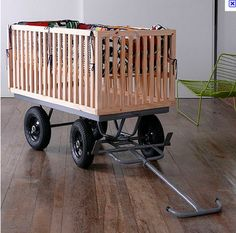 crib sides repurposed into a handy cart