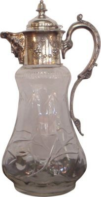 Vintage cut crystal & silverplate decanter with profile of man on covered spout ca.1905