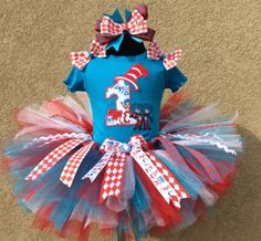 Dr. Seuss Thing 1 and Thing 2 Birthday Girls Tutu Outfit