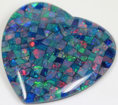 109.60 CTS TOP QUALITY HEART MOSAIC OPAL ELECTRIC COLOR PLAY C5486   opal chips, opal chips , mosaic  fire opal ,