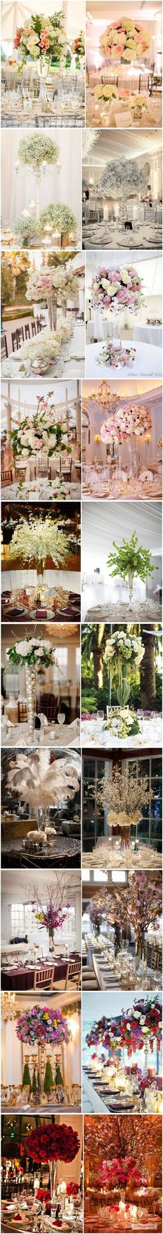 TOP 20 Tall wedding centerpiece ideas/top left is pretty, not quite the way the flowers are arranged/ and only eucalyptus Tall Wedding Centerpieces, Wedding Table Decorations, Wedding Flower Arrangements, Flower Centerpieces, Wedding Bouquets, Centerpiece Ideas, Quinceanera Decorations, Tall Centerpiece, Tall Vases