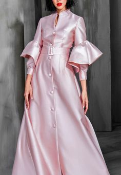 Female Color other season autumn winter Skirt length Long skirt Collar Standing collar Material Polyester Pattern type Solid color Sleeve Length Long sleeve Sleeve Type Petal sleeve style Dress design S Abaya Fashion, Modest Fashion, Couture Fashion, Fashion Dresses, Dresses Dresses, Petal Sleeve, Mode Hijab, Couture Collection, Couture Dresses