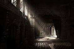 black and white, light, scenario, shadow, stage