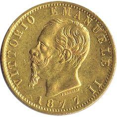 Moneda de oro 20 liras Italia 1877 Roma.