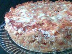 Tomato-Mozzarella Tagliatelle Timballo  Very simple, no meat version
