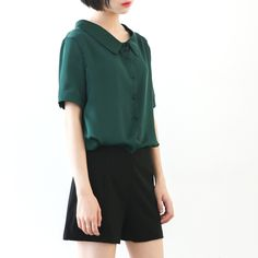 taobao agent 金大班613/翻领/韩版优雅翻领衬衫短袖上衣女2016夏季新款