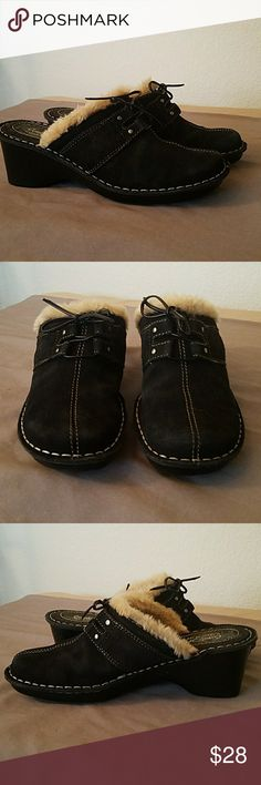 Karen Scott suede fur lined cogs Comfort by Karen Scott fur lined suede clogs rubber soles very good condition lace Ties on the front warm and comfy Karen Scott Shoes Mules & Clogs