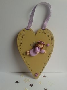 Goregous Handpainted Wooden Heart Plaque With Fimo Fairy & E | Greet'Em Exclusive Handmade Designs MISI Handmade Shop