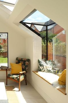 House Extension Design, Extension Designs, Extension Ideas, Cottage Extension, Window Benches, Window Seats, Window Seat Kitchen, Roof Window, Side Window