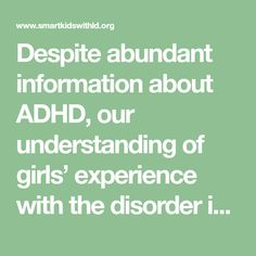 Despite abundant information about ADHD, our understanding of girls' experience with the disorder is still surprisingly limited. For decades, hyperactive,...Read more