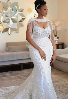 2019 Luxury African Off Shoulder Mermaid Wedding Dress With Tassels Vintage Black Girl Plus Size Aso Ebi Lace Styles, Lace Dress Styles, African Lace Dresses, Latest African Fashion Dresses, Dress Fashion, Lace Styles For Wedding, Plus Wedding Dresses, Bridal Dresses, Mermaid Dresses