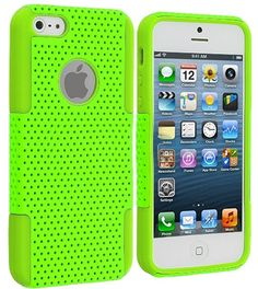 myLife Vibrant Lime Green Survivor Slim (Layered Mesh Armor) 2 Piece Case for iPhone 5/5S (5G) 5th Generation iTouch Smartphone by Apple (Ex...