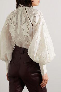Zimmermann - Super Eight embroidered linen and silk-blend blouse 80s Fashion, Modest Fashion, Korean Fashion, Vintage Fashion, Fashion Outfits, Fashion Trends, Classy Fashion, Modern Victorian Fashion, Pirate Fashion