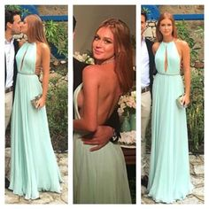 Green Chiffon Prom Dress, Backless Long Prom Dress, Simple Round Neck Formal on Luulla Open Back Prom Dresses, Pink Prom Dresses, Backless Prom Dresses, Gala Dresses, Nice Dresses, Bridesmaid Dresses, Formal Dresses, Party Dresses, Evening Outfits