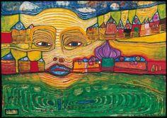 Reproduction de Hundertwasser, Irinaland sur les Balkans. Tableau peint à la main dans nos ateliers. Peinture à l'huile sur toile.