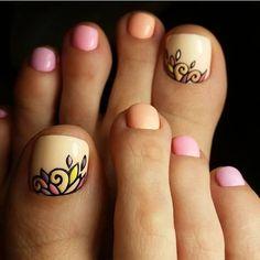 Summer colorful toe nail art #PedicureIdeas