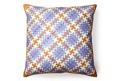 Lance Wovens, Normandy 21x21 Pillow, Periwinkle woven leather  299 - orig. 750