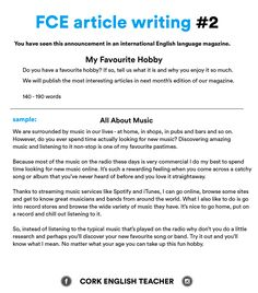 FCE Exam Writing Samples - my favourite hobby