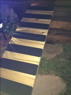 No skid dog ramp for over the deck stairs.  No skid tape from Amazon.