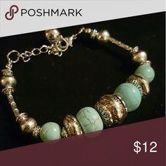 Tibetan Silver Tone Turquoise Bracelet Bracelet is about 8 inches long Jewelry Bracelets