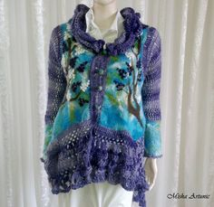 Jacket felting, crochet, boho chic - Lilac flowers by Mishaartunic on Etsy