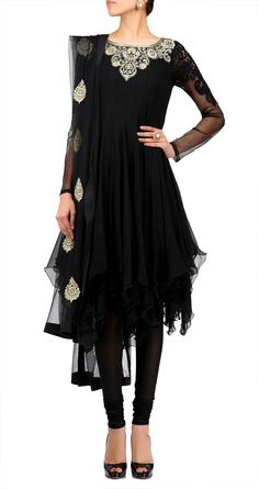 Black chiffon net anarkali set with gold embroidery. Unqiue Indian wear.