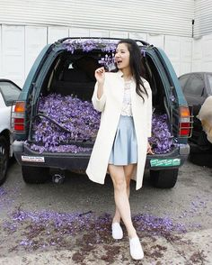 When you fill the trunk with purple rain...💜#flower #fashion #ootd #coat #fall #casual #chic #skirt #outfit #sneakers #lookbook #cute #pretty #LA