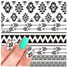 2 Patrones/Hoja BP-W26 Azteca Tribal Tatuajes de Agua Nail Art Stickers Transferencia Nail Stickers NACIDO PRETTY Nail Art Decoraciones
