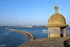 Seascape of Saint Malo rampart with dock. Stone building creat for protecting the corsair city. Brittany, France.