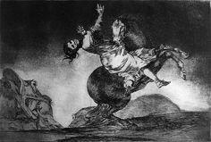 Goya, Francisco de Disparate nº 10 Neoclasicismo Romanticismo Los disparates o Los proverbios son una serie (con toda probabilidad incompleta) de veintidós grabados realizados al aguatinta y aguafuerte, con retoques de punta seca y bruñidor, realizada por Francisco de Goya entre los años 1815 y 1823.